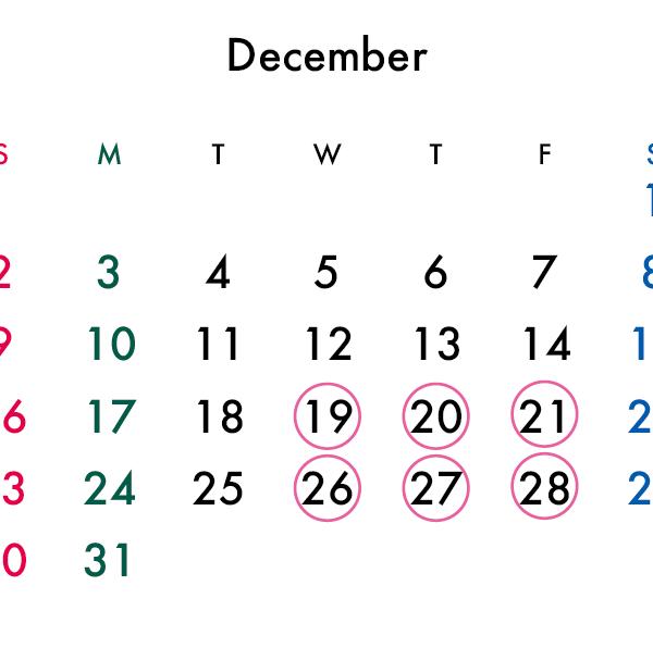 12月の営業時間についてのお知らせ【PARIS AVENIRより】